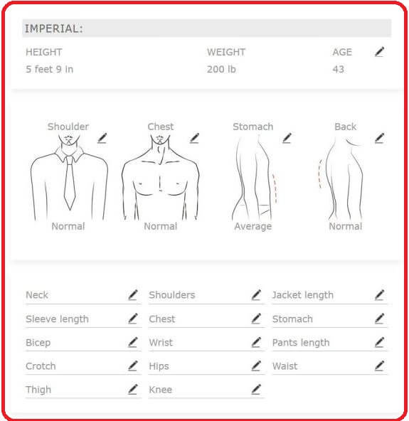 your body measurements summary page - NCG Tailor
